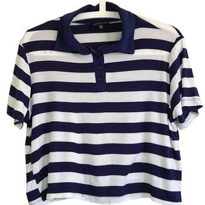 Poof Cropped Blue and White Collared Shirt